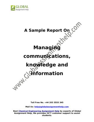 Sample on Managing communications, knowledge and information