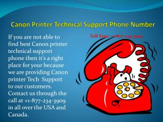 Printer Support:Canon printer technical support phone number