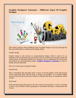 Graphic Designers Tanzania – Different Types Of Graphic Designs