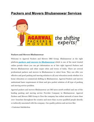 AGARWAL PACKERS AND MOVERS BHUBANESWAR