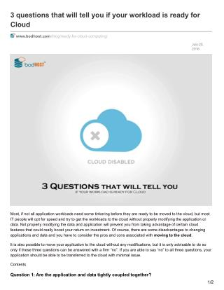 3 questions that will tell you if your workload is ready for Cloud