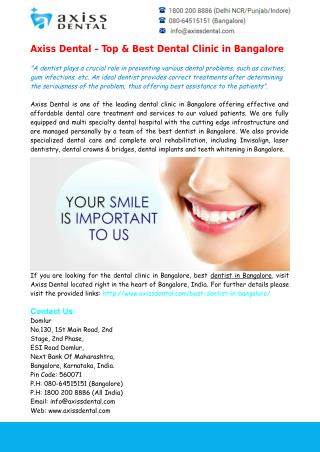 Top & Best Dental Clinic in Bangalore - Axiss Dental