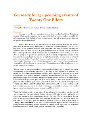 Get ready for 37 upcoming events of Twenty One Pilots