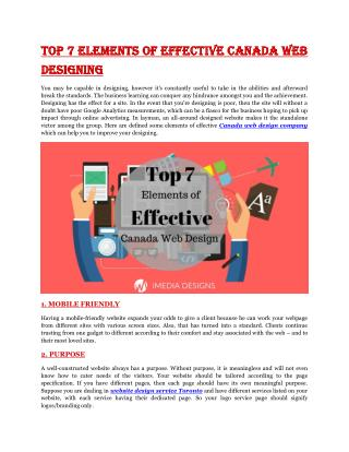 Top 7 Elements of Effective Canada Web Designing