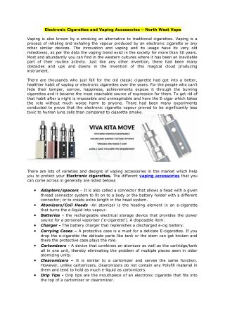 Electronic Cigarettes and Vaping Accessories - North West Vape