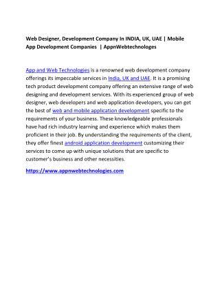 Mobile App Development   Web Design, Development INDIA,UK,UAE   Appnwebtechnologies