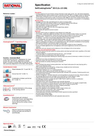 Commercial Kitchen Equipment - Self Cooking Center XS E