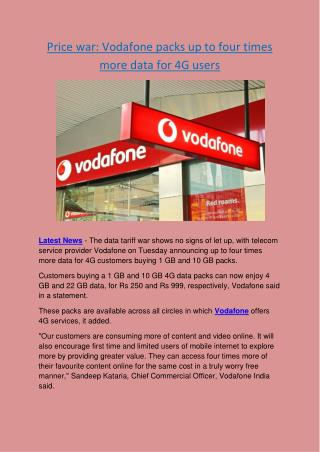 Price war- Vodafone packs up to four times more data for 4G users