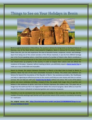 Things to See on Your Holidays in Benin