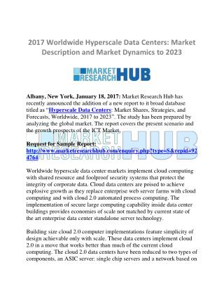 Worldwide Hyperscale Data Centers Market Report and Scope 2023