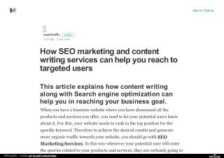 How SEO marketing and content writing services can help you reach to targeted users
