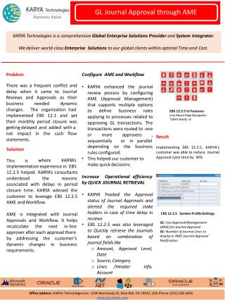 KARYA Technologies Case Studies - GL Journal Approval through AME