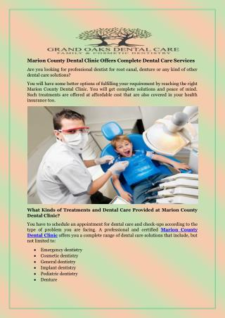 Marion County Dental Clinic Offers Complete Dental Care Services