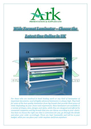 Wide Format Laminator – Choose the Latest One Online in UK