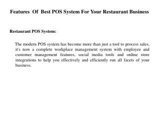 Features  Of  Best POS System For Your Restaurant Business