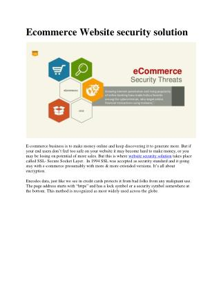 Ecommerce Website security solution