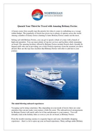 Quench Your Thirst for Travel with Amazing Brittany Ferries