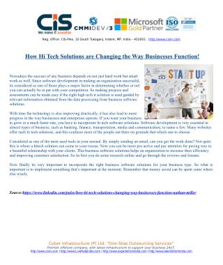 How Hi Tech Solutions are Changing the Way Businesses Function!