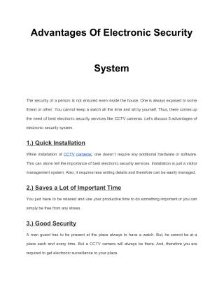 Advantages Of Electronic Security System
