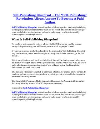 Self-Publishing Blueprint review-SECRETS of Self-Publishing Blueprint and $16800 BONUS