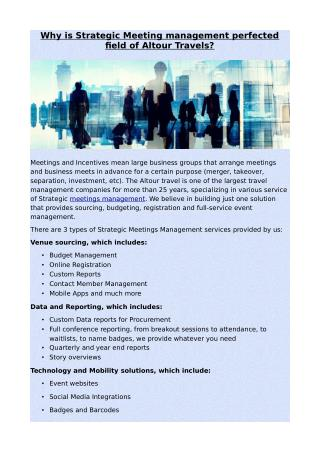 Why is Strategic Meeting management perfected field of Altour Travels?