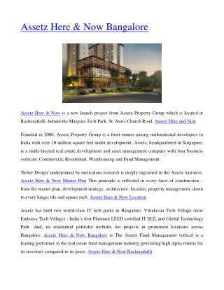 Assetz Here & Now Bangalore