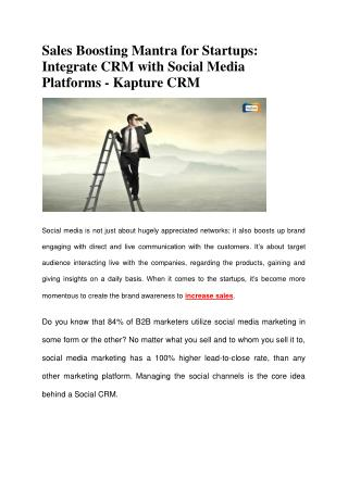 Sales Boosting Mantra for Startups: Integrate CRM with Social Media Platforms - Kapture CRM