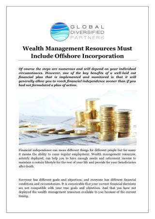 Wealth Management Resources Must Include Offshore Incorporation