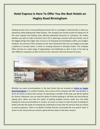 Hotel Express Is Here To Offer You the Best Hotels on Hagley Road Birmingham