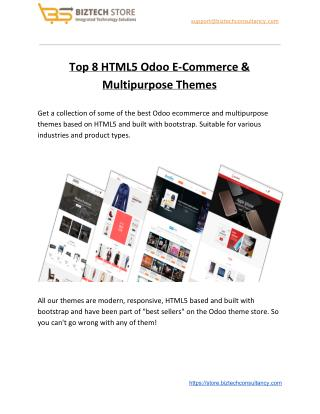 Top 8 HTML5 Odoo E-Commerce & Multipurpose Themes