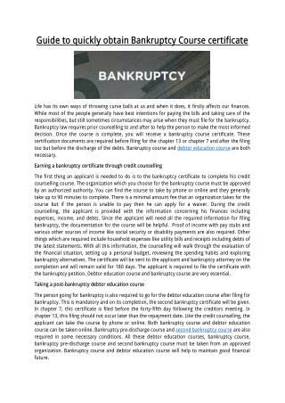 Guide to quickly obtain Bankruptcy Course certificate