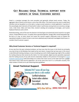 Get Reliable Gmail Technical support with experts of Gmail Customer service