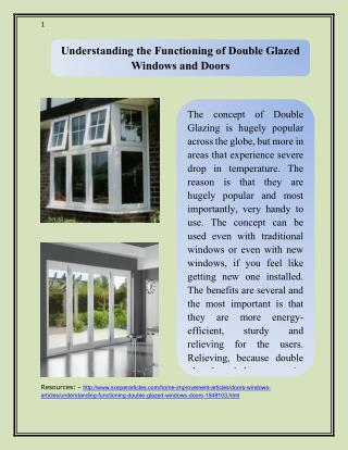 Understanding the Functioning of Double Glazed Windows and Doors