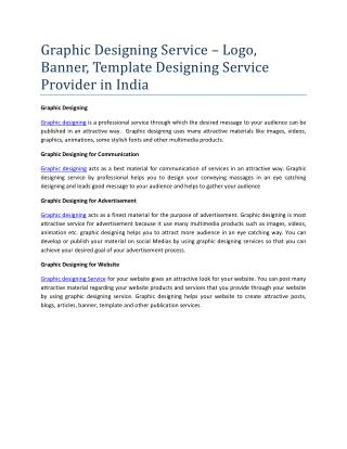 Graphic Designing Service – Logo, Banner, Template Designing Service Provider in India