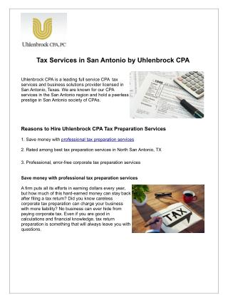 Tax Services in San Antonio by Uhlenbrock CPA