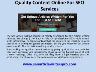 Quality content online for SEO services