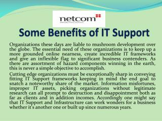 Some Benefits of IT Support