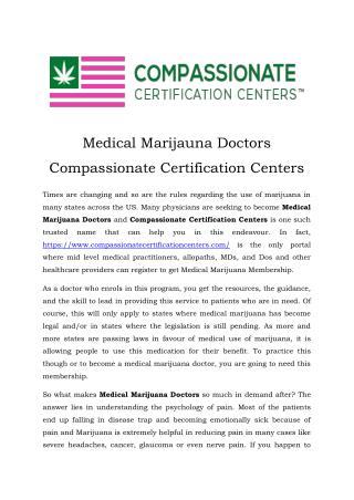 Medical Marijauna Doctors Compassionate Certification Centers