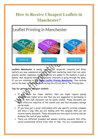 How to Receive Cheapest Leaflets in Manchester?