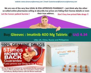 Buy Gleevec : Imatinib 400 Mg Tablets @ Us$ 4.34