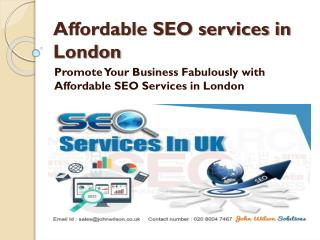Promote Your Business Fabulously with Affordable SEO Services in London