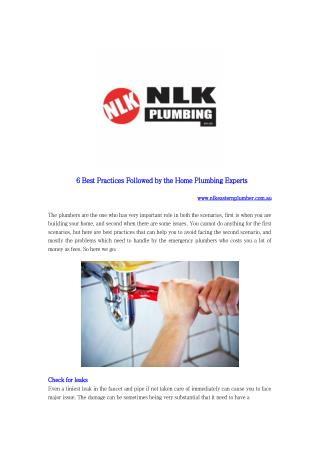 6 Best Practices Followed by the Home Plumbing Experts