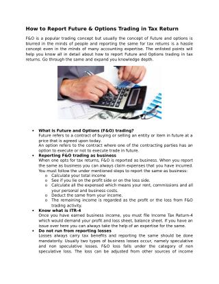 How to Report Future & Options Trading in Tax Return