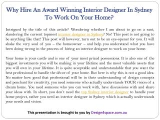 Why Hire An Award Winning Interior Designer In Sydney To Work On Your Home?