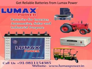Get Reliable Batteries from Lumax Power - 9811154385