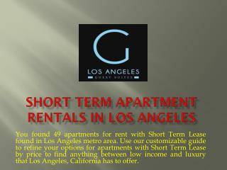 Short Term Apartment Rentals in Los Angeles