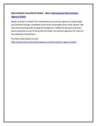 Recruitment Consultant Dubai – Best International Recruitment Agency Dubai