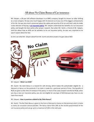 All About No Claim Bonus of Car Insurance