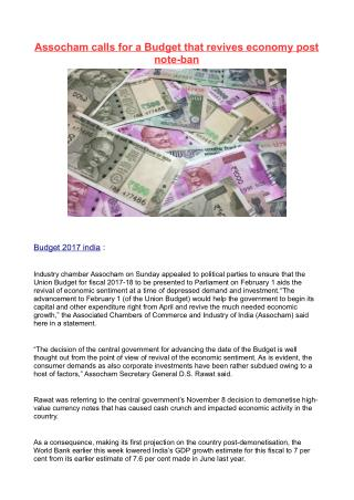Assocham calls for a Budget that revives economy post note-ban