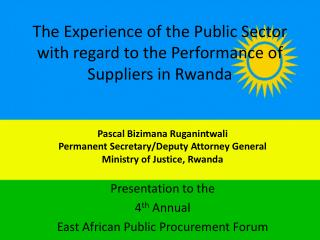 The Experience of the Public Sector with regard to the Performance of Suppliers in Rwanda